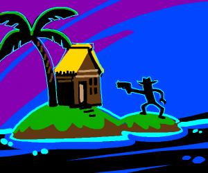 Island dweller gonna shoot his house.