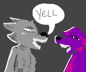 Anthro Wolf yells at purple wolf