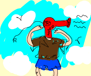 Hair dryer shaped headed kid in red in th sky