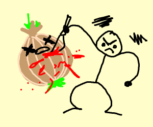 stabbing a blood filled onion