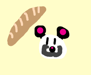 French panda with loaf of French bread