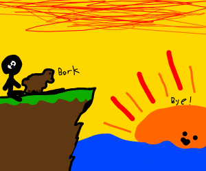 Man with dog staring at sunset