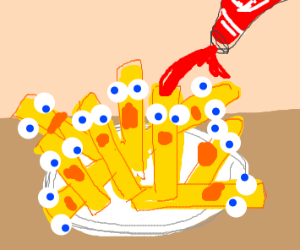 Pouring ketchup on living french fries