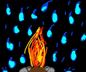 Raining on fire