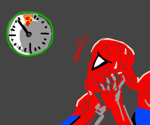 Spiderman waits for Pizza Time