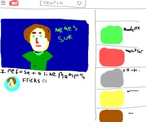 YouTuber named Fricks refuses to like memes.