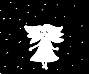Girl in a dress in space
