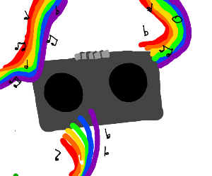 Boombox blasting happy rainbow cancer music