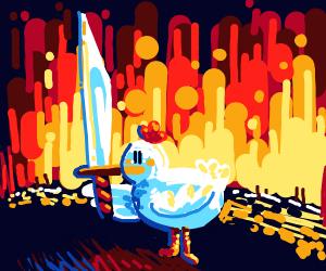 Warrior chicken is prepared for battle
