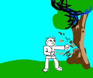 A man punching a tree