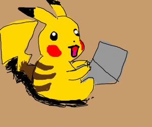 Pikachu on a computer