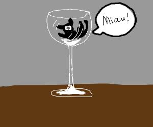 tiny cat in wine glass