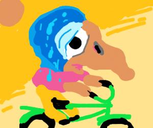 Blue Birb b tired on bike