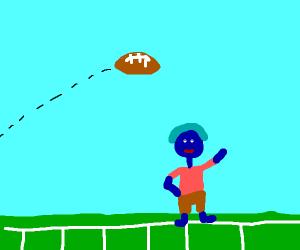 Bule man at a football game