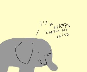 Happy child elephant
