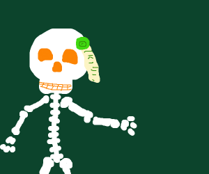 skeleton with a seal