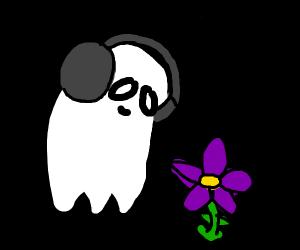 Napstablook finds purple flower