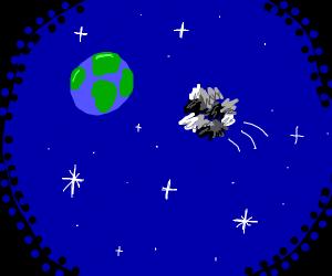 ball of trash hits earth