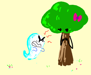 an angry ghost and a cute tree