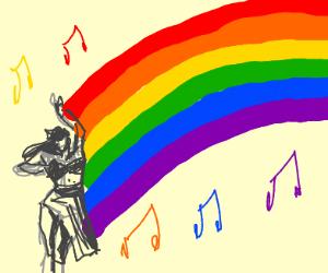 Belly dancer creates rainbow
