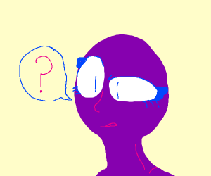 A confused purple-skined girl