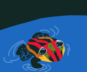 A frog in a pond.