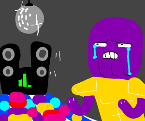 thanos at the club, crying