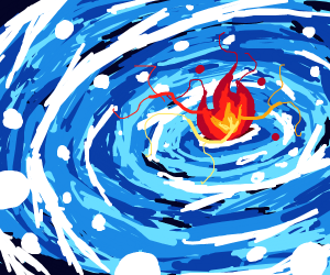 Some blue stuff is going for a red flame