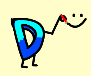 The D draws happy face