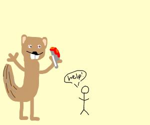 giant squirrel terrorizing person