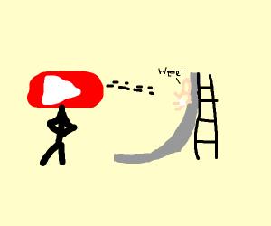 Youtube man looks at baby slide