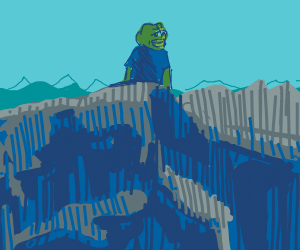 Pepe the frog climbed the mountain