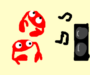crabs dancing to music blasting from speakers