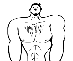 Muscular man with unfortunate face