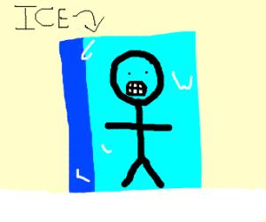 Sick boy frozen in ice block