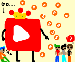 Big YouTube logo, small YouTube man