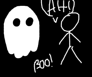 Ghost startles a stickman
