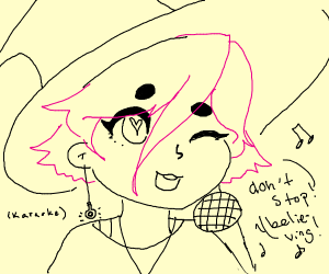 A pink haired witch does karaoke