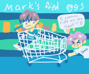kids sitting in the cart