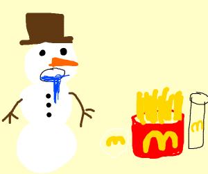 snowman wanna eat MCDonals