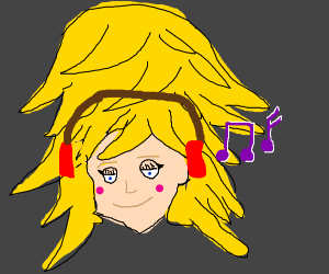 Person with headphones and huge hairdo