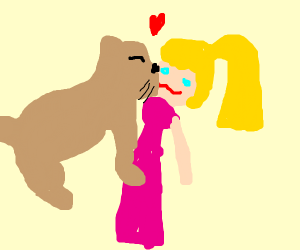 Cougar kissing Barbie