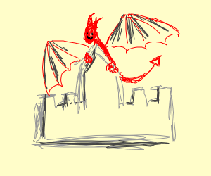 Dragon on castle