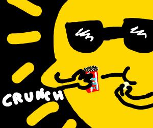 sun eating popcorn