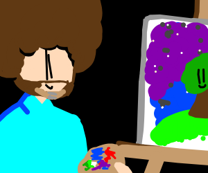Bob Ross painting a happy little tree