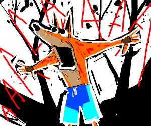 crash bandicoot tree screaming in fear