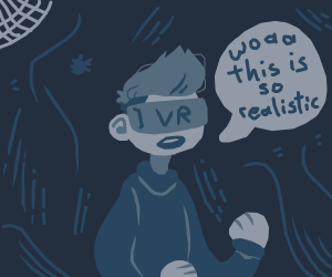 person in vr in a cave