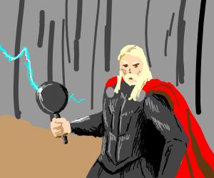 Loki gave Thor a thunder frying pan