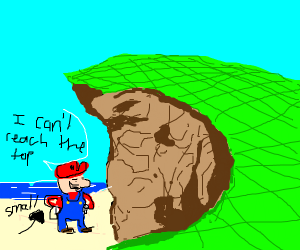 Mario is to small to reach the cliff's top
