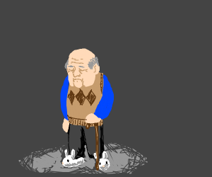 Sad old man in bunny slippers